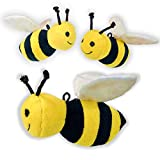 Dog Toy - Adorable Set of 3 Plush Squeaker Crinkle Interactive Toy Bees for Dogs