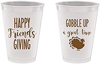 Thanksgiving Friendsgiving Frost Flex Plastic Cups - Gobble Up a Good Time (10 cups)