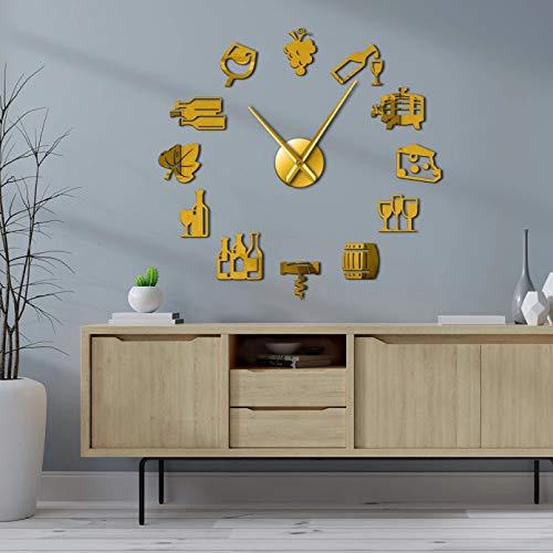 PYIQPL Reloj de Pared 3D DIY Reloj de Pared Gigante Bebida alcohólica Pub Bar Signo Corcho Queso y Vino Cocina Moderna Arte Pegatinas Tornillo Reloj de Pared Decorativo Dorado (47inch)