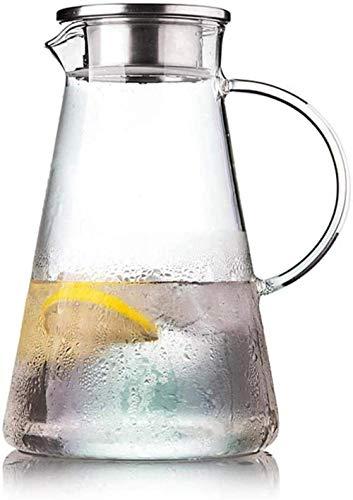 Resistente al calor Hervidor de tetera fría Litro de la jarra con tapa de vidrio de tapa con té helado con tapa para té de hielo y jugo de bebida en la jarra con inserto - Copa de té sin BPA 100% HMLI