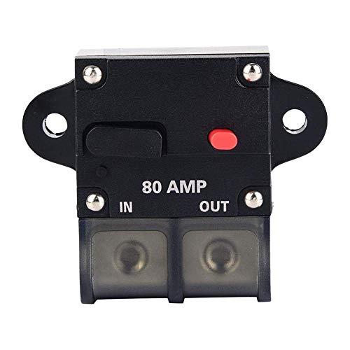 JF-XUAN Fusibles Cuadro Titular, 80A Restaurable Coche Modificado Circuit Breaker Audio Interruptor de Ajuste Manual Portafusible