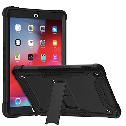Lamcase for iPad 9.7 Inch 2018/2017 Case iPad 6th/5th Generation, with Kickstand, Heavy Duty Rubber Hybrid High Impact Drop Rugged Shockproof Full Body Protective Case for iPad 5th/6th Gen 9.7,Black