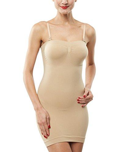 Belugue Women's Control Slip Shapers Shapewear Dress Full Body Shaper Nude XXL