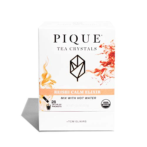 Pique Tea Organic Reishi Mushroom Elixir - Calm, Sleep, Regulate Mood - 1 Pack (28 Sticks)