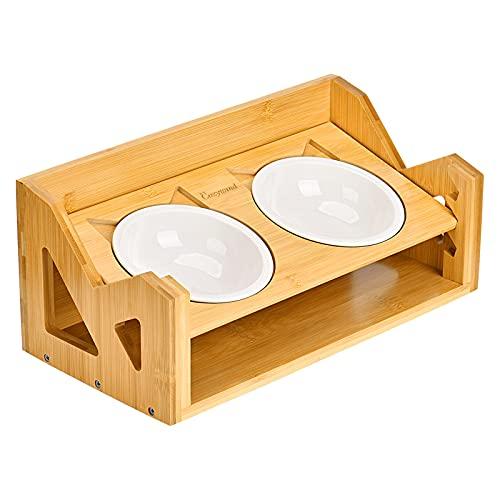 Cozywind Set di Ciotole per Gatti Ciotole per Gatti e Cani Rialzate in Ceramica Scodella Ciotole per Gatto Cane in Bambu con Supporto e 2 Ciotola Antiscivolo Antiribaltamento