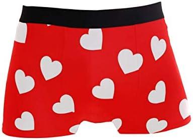 Fitted Boxer Bóxer Día de San Valentín Corazón de Color Blanco Día de San Valentín Boxer Calzoncillos para Hombre,5,XL