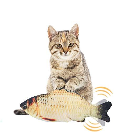 EKKONG Spielzeug mit Katzenminze, Elektrische Fische Katze, Katze Interaktive Spielzeug, Simulation Plush Fisch, Kissen Kauen Spielzeug für Katze für Katze, Kitty(Type A)