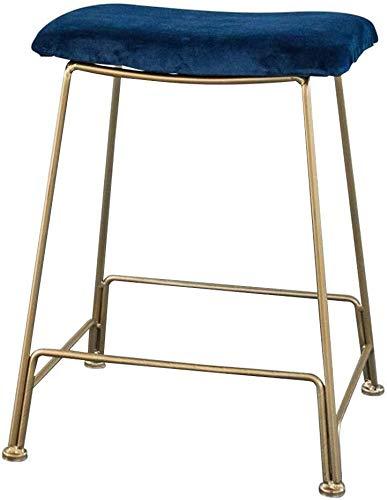 WWW-DENG barkruk, moderne bekleding, barkruk, bar hoogte stoel, blauw velvet kussen, gevoerde zitting, Pub Bistro keuken eetkamerstoel, barkruk met gouden metalen poten 440 lbs capaciteit barkruk
