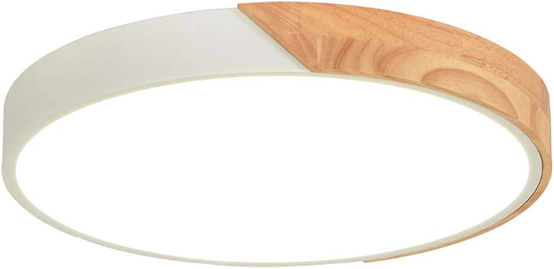 T-Tonranp Métal Moderne de Lampes de Plafond de LED avec Les Lampes de Plafond Couleurées par Abat-Jour en Acrylique en Bois en Caoutchouc Round blanc 30x30cm 18W