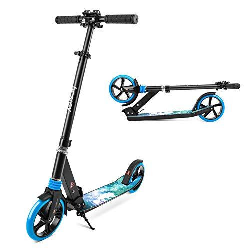 besrey Scooter Kickscooter Tretroller Klappbar Höhenverstellbar Roller für Erwachsene Kinder Teenager ab 8 Jahren City Roller mit 200MM Big Wheel - Blau