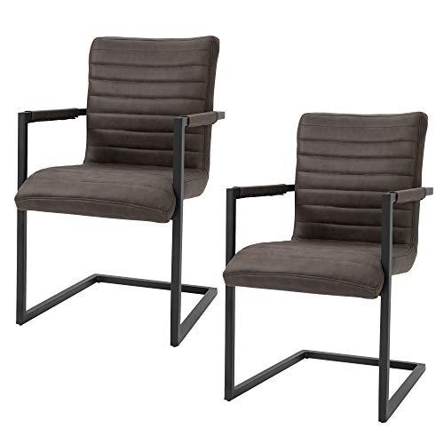 homcom Set di 2 Sedie da Pranzo Moderne in Stile Industriale con Imbottitura e Braccioli, Marroni, 63x53x90cm
