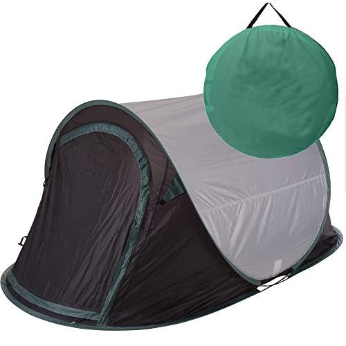 Zelt Pop Up Wurfzelt 2 Personen von JEMIDI Festival Zelte Trekkingzelt Campingzelt Automatik Sekundenzelt Strand Strandzelt 220cm x 120cm x 95cm 2 Mann Popup Wurfzelte Grau/Grün