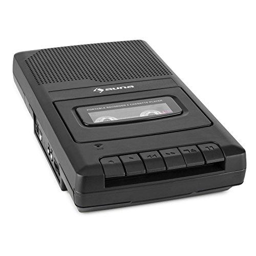 auna RQ-132 - Kassettenrekorder, Tonbandgerät, Diktiergerät, Tape Recorder, verbauter Lautsprecher, automatische Abschaltung, Mikrofon & Kopfhöreranschluss, Netz und Batteriebetrieb, schwarz