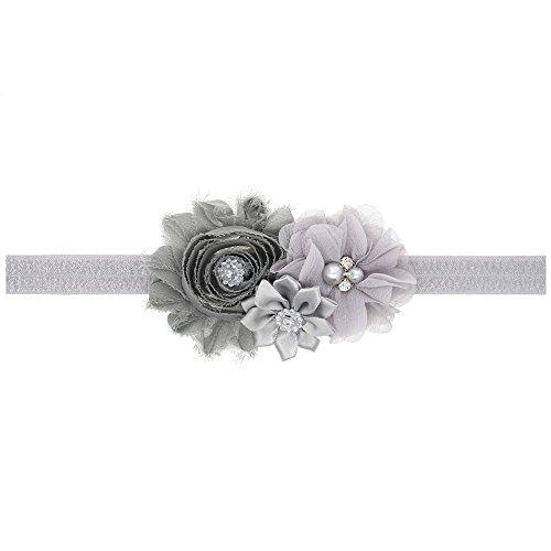 Ld Dress Lovely Baby Girl Headbands Rhinestone Flower Princess (28) (Gray), 13 INCHES