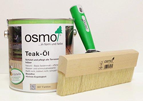 OSMO AB.Bauconcept GbR© Kombiangebot Teak-Öl Farblos 007 2,5 Liter Fußbodenstreichbürste 220 mm