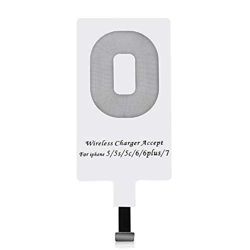 CHOETECH Qi Empfänger Wireless Charger Receiver Empfänger Kompatibel mit Apple iPhone 7/7 Plus, iPhone 6/6S/6 Plus, iPhone 5/5s/5c