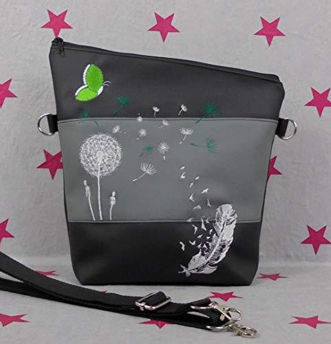 pinkeSterne ☆ Umhängetasche Handtasche Schultertasche Kunstleder Bestickt Stickerei Handmade FoldOver Grau Schwarz Grün Limone Hellgrün