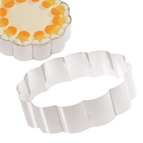 Tortenring Backform Blume – Überraschen Sie Ihre Lieblingsmenschen mit einem Kuchen in Blumenform - Kuchenform aus Edelstahl zum Backen und Dekorieren – Made in Germany
