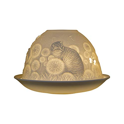 Nordic Lights Lampenschirm Schablone Kätzchen Teelichthalter Teller Spitze Geschenkidee Kerzenzubehör Porzellan weiß gemustert Einheitsgröße