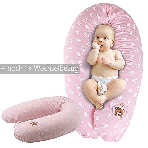 Ökotex XXL Stillkissen + 1x Extra Stillkissenbezug | Schwangerschaftskissen Lagerungskissen Seitenschläfer-Kissen | Bezug 100% Baumwolle | Made in Europa von Sei Design