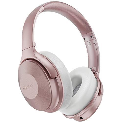 Mpow H17 - Cuffie Bluetooth a riduzione del rumore, fino a 45 ore, pieghevoli, Bluetooth, con microfono integrato, anti-rumore, CVC 6.0, ricarica rapida, con custodia portatile per telefono e PC