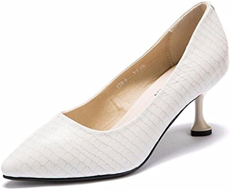 HBDLH Spitzer Kopf Dünne Sohle Einzelne Schuhe Frühling Elegant 7Cm Hohen Ferse Damenschuhe Muster Einfache Flachen Mund Niedrige Schuhe.