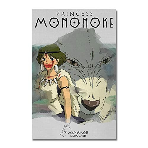 xinxinxiangrong Póster de película de Dibujos Animados de la Princesa Mononoke Ghibli, póster de Pintura en Lienzo para la decoración del hogar de Roma Viva A359 50 × 70 cm sin Marco