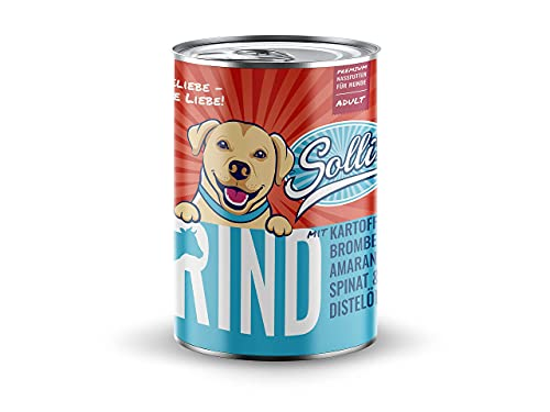 Sollis - Hundefutter Nass - 6er-Pack | Ohne Getreide | Hoher Fleischanteil | Ohne Zucker | Getreidefreies Nassfutter für Hunde