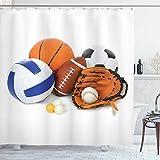 Sosun Cortina de Ducha Deportiva, Muchos balones Deportivos Diferentes Todos Juntos Campeonato Juegos Olímpicos de Voleibol de Ping Pong, Tela de Tela Decoración de baño con Ganchos, Naranja