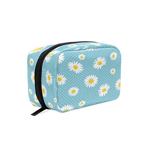 Daisy Fleurs et pois Maquillage Sac Cosmétique Sac de toilette Sac de voyage Coque pour femme, Blanc Bleu Portable Organiseur étui de rangement Sacs Box