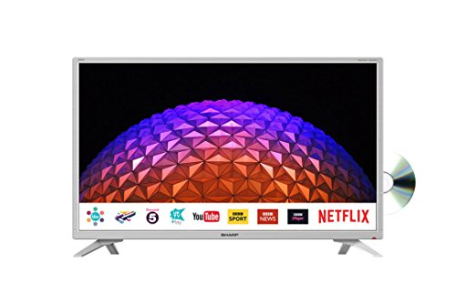 Sharp LC-32DI5232KFW 32 Inch HD Ready LED Freeview Play, Smart TV with Freeview HD, Built-In DVD Player, 3 x HDMI, Mini-Scart, USB Record - White