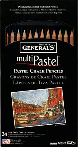 Generals G4401-24A Pastel Chalk Pencil Set of 24 by Generals