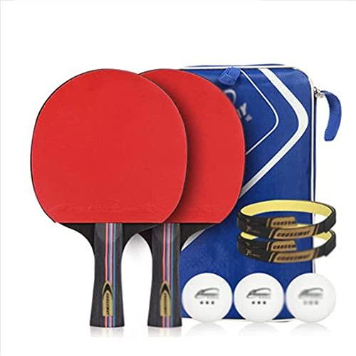 JIANGCJ bajo Precio. Raqueta de Tenis de Mesa: Paleta de Ping Pong Profesional con Caja de Transporte - Conjunto de Pong - Caucho Aprobado por ITTF for Torneo Play-A