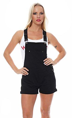 Fashion4Young 3889 Damen Latzhosen Hotpants Short Kurze mit Hosenträgern Hot Pants 5 Größen Schwarz (M=38, Schwarz)