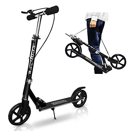Kickboard Kick Scooter for Kids and Adults, Foldable, 3 Stage Adjustment Foot / Hand Brake, Standing Motorcycle, 7.9 inches (20 cm) Big Tires, Sling Belt for Sling Carrier, Aluminum