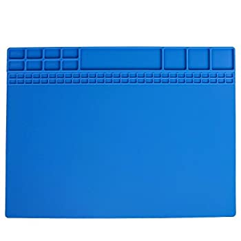 Work Bench Mat Repair Heat Resistant 932° Soldering Mat Silicone Work Mat For Repairing Electronics Mat Workbench Pad Board for Soldering Station,BGA Repair Station with Size 15.8  x 11.8   Navy Blue