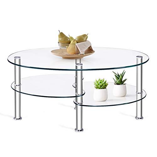 DREAMADE Couchtisch Glass oval, Sofatisch mit Metallgestell und dicken gehärteten Glas, Glastisch mit DREI Schichten Stauraum, Beistelltisch im Moderne Stil, ideal für Wohnzimmer & Büro (Transparent)