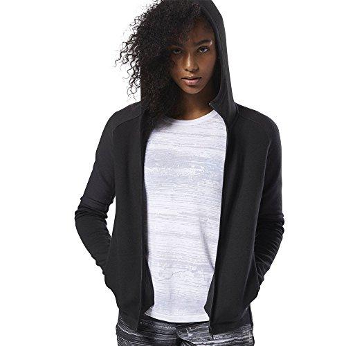 Reebok Damen Quik Cotton Full-Zip Sweatjacke Schwarz, Grau Jacken, XS
