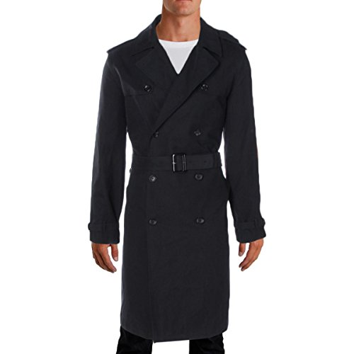 LONDON FOG Men's Plymouth Twill Belted Double-Breasted Iconic Trench Coat, Black, 44L