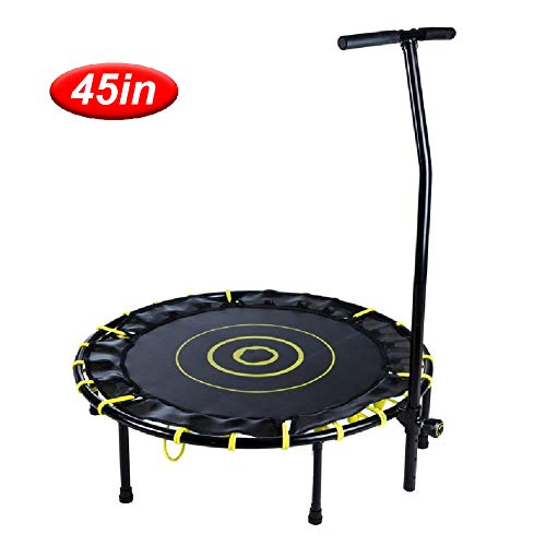 LGPNB 45in Jumping trampoline fitness adults with armrests,indoor Home weight loss slimming Rebounder Bouncer bed,With armrests More safety and comfort