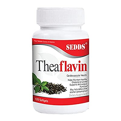 SEDDS Theaflavin: Supports Healthy Cholesterol Levels & Detox   100% All Natural Hangover Relief  Green Tea, Black Tea, Vitamin E Antioxidant Supplement from Sedds