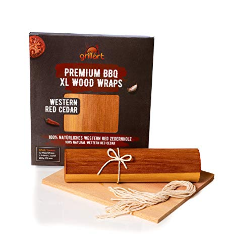 grillart® Premium BBQ Wood Wraps - 12 Pack XL Grillpapier – Zedernholz zum Grillen – Räucherpapier aus Zedernholz für einen besonderen Grillgeschmack