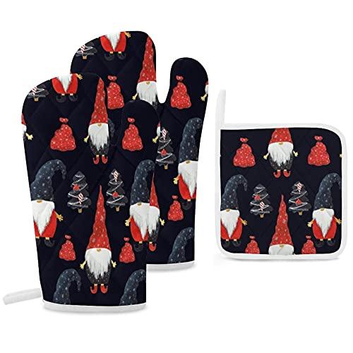 Set di 3 guanti da forno e presine resistenti con guanti in poliestere antiscivolo per barbecue, per cucina, cottura, cottura, griglia, gnomo natalizio