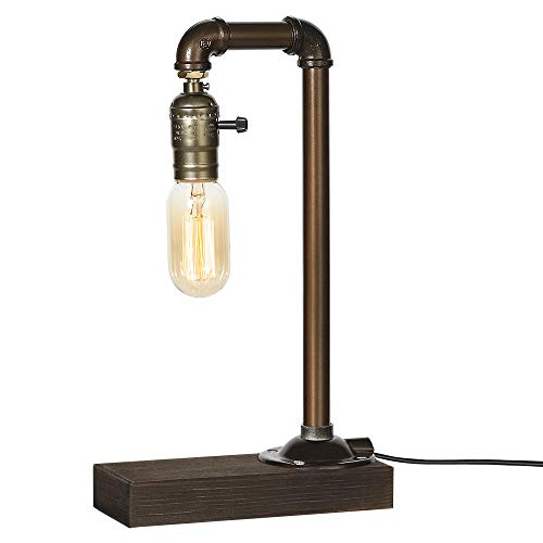 Vintage Table Lamp, Retro Industrial Iron Water Pipes&Wooden Base Bedside lamp Steampunk Desktop Light(Bulb Not Included)