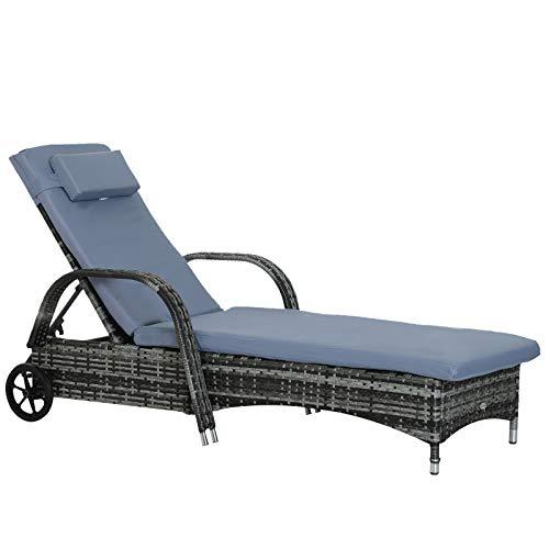Outsunny Gartenliege Sonnenliege Rattanliege Gartenmöbel Liege mobil mit Kissen, Polyrattan+Metall, Grau, 200x73x56-103cm