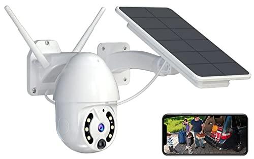 Cámara de seguridad solar Cámara WiFi al aire libre, reflector inalámbrico IP CCTV Cámara, Vigilancia en el hogar. PTZ Cámara, Color Night Vision, Panel de carga solar 5. 8W, Pir Detección de la cara