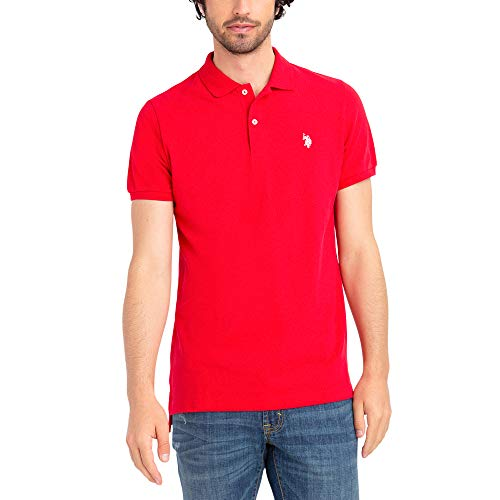 U.S. Polo Assn. Mens Classic Small Pony Solid Pique Polo Shirt - Engine Red, XX-Large