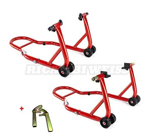 RWSTTK2 RicambiWeiss Motorradständer Montageständer Set für vorne & hinten (2 Montageständer) Motorradheber