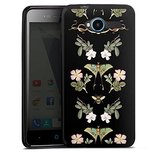 DeinDesign Silikon Hülle kompatibel mit ZTE Blade L3 Hülle schwarz Handyhülle Blumen Biene Schmetterling