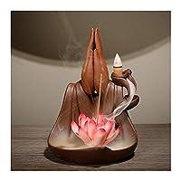仏リフロー香炉陶器リフロー香炉ロータス禅10無料円錐形のホームデコレーション工芸ギフト付き GAONAN (Color : Red)